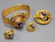 A Victorian yellow metal, blue enamel and rose cut diamond set demi parure, comprising a bracelet,