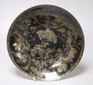 A rare Chinese mirror black glazed circular dish, Kangxi period, diameter 28cm