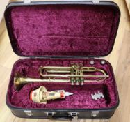 A Boosey & Hawkes Regent brass trumpet, cased
