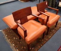 A Contemporary American Bernhardt Furniture Co. hand-made set, pair of armchairs and a bench in