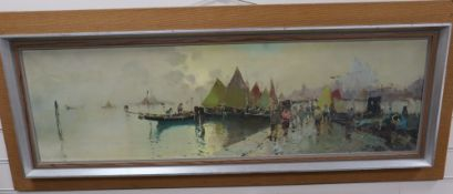 Italian School, oil on canvas, Figures on a jetty with Venice beyond, indistinctly signed, 33 x
