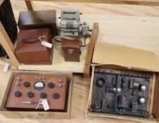 An early 20th century Wheatstone Bridge Precision Resistance OHMS Unit and sundry other vintage