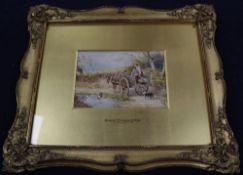 After Birket Foster, watercolour, Figures in a cart beside a duck pond, bears monogram, 10 x 15cm