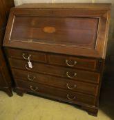 An Edwardian inlaid mahogany bureau, width 102cm, depth 53cm, height 108cm
