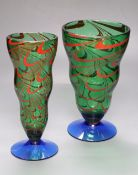 Two Orrefors coloured glass vases, height 25cm