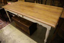 A Laura Ashley painted hardwood rectangular kitchen table, width 200cm, depth 90cm, height 80cm
