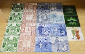 A collection of 19th/early 20th century transfer-printed and moulded wall tiles, including nine