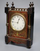 A small 19th century French timepiece, of rectangular form with ebonised and boulle work case and