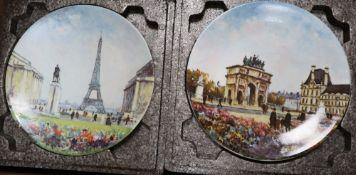 Sixteen Wedgwood jasper 'mother' plates, ten Royal Copenhagen Christmas plates and twelve Limoges