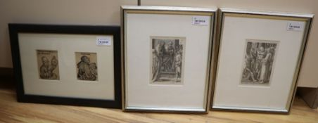 After Lucas van Leyden (1494-1533), two engravings from The Small Passion, 'Christ Before Annas' and