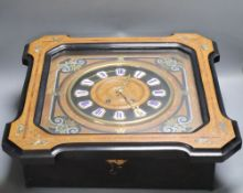 A French inlaid wall clock, spring-driven gong-striking movement, with pendulum, 50cm sq.