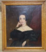 Victorian School, oil on canvas, Portrait of a lady, 34 x 29cm, maple framed