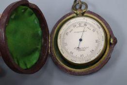 E. Saunders, 100, High Street, Oxford. A brass cased pocket barometer, cased