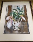 Lewis Baumer (1870-1963), watercolour, Still life of magnolia blossoms in a jug, signed, 40 x 27cm