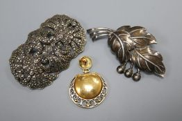 A single 14ct gold earring cast with flowers, a silver and marcasite openwork brooch and a Danish