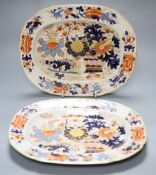 Two 19th century Ironstone dishes, length 24cmCONDITION: Both structurally good, but considerably