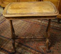 A Victorian walnut writing table, width 68cm, depth 42cm, height 70cm
