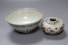 A Chinese Middle Ming Dynasty blue and white 'Lotus Flower' bowl and a Vietnamese Hoi An Hoard