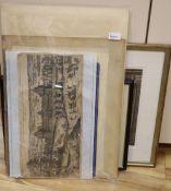 A collection of miscellaneous prints and engravings, including James Gillray, 'A Fundamental Error