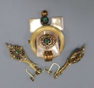 A Victorian yellow metal, black enamel, emerald and seed pearl set drop brooch and pair of