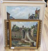 Dora Johns (1908-1985), pair of oils on canvas, Cornish fishing villages, signed and dated 1968,