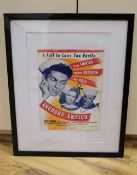 An 'Anchors Aweigh', poster, signed by Gene Kelly, 31 x 24cm