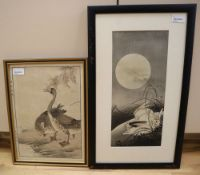 Two Japanese colour woodblock prints, one by Ito Sozan (b. 1884), Rabbits in Moonlight, signed in