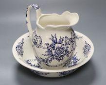 A James Kent earthenware blue printed jug and basin, jug height 20cm