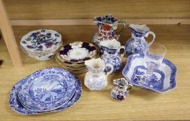 Three Brameld blue printed dishes, five various hydra jugs, tallest 20cm, six Keelings Losol ware