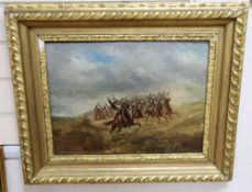 19th century French School, oil on panel, Cavalry charge, 34 x 43cm
