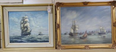 Max Parsons A.R.C.A. (1915-1998), oil on board, 'Hull Roads' and another of a clipper, signed (2),