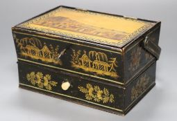 Brighton interest: 'A Chain pier and Marine Parade, Brighton' japanned sewing basket, c.1840., the