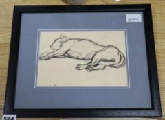 Dame Laura Knight DBE, RA, RWS (1877-1970), Study of a sleeping dog, initialled, charcoal, 14cm x