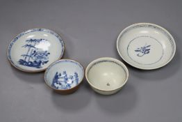 A Chinese Nanking Cargo Batavia tea bowl and saucer and Tek Sing Cargo blue and white tea bowl and