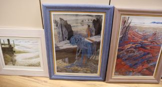 Annie Soudain, gouache, 'Incoming tide', signed and dated '06, 26 x 34cm and two colour prints by
