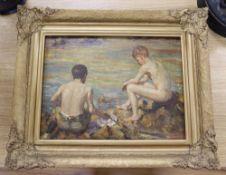 After Henry Scott Tuke, oil on board, Boys on the seashore, 29 x 38cm