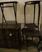 A late Victorian oval mahogany centre table, width 74cm, together with a folding table and a