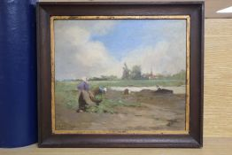 Janet Sutherland Davidson (19th/20th century), Dutch landscape with figures working in a field by