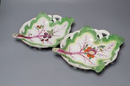 A pair of Chelsea leaf dishes, circa 1758, brown anchor marks (wear)CONDITION: Dish with grapes