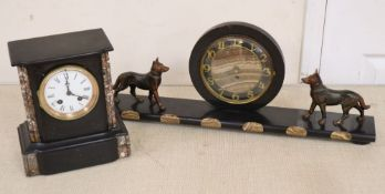 An Art Deco clock and a Victorian black slate mantel clock, for repair spares