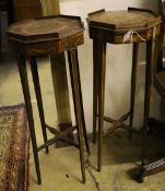 A pair of Sheraton design inlaid octagonal urn stands, width 30cm, height 80cm