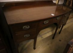 A George III mahogany bow fronted sideboard, width 137cm depth 67cm height 84cm