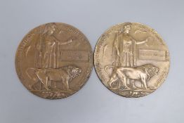A death plaque for Charles Madgwick and another for Thomas Meakin