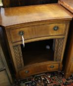 A mahogany concave side cabinet enclosed by tambour front, width 50cm, depth 34cm, height 72cm