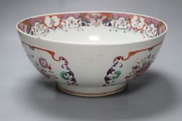 An 18th century Chinese export famille rose bowl, QianlongCONDITION: Large punch bowl - cracked