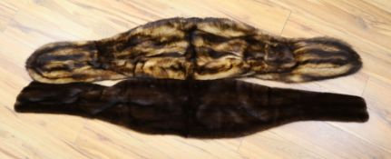 A dark brown mink stole and a dyed fox stole, 170cm