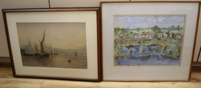 William Edward Webb (1862-1903), river scene with barges and a distant bridge, signed and dated '