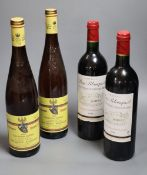 Two bottles of Chateau Puy-Blanquet, 1998 and two bottles of Volxheimer Liebfraw, 2003 (4)