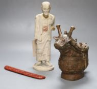 A Chinese archaistic bronze vessel, a Chinese carved wood figure and a cinnabar lacquer mount