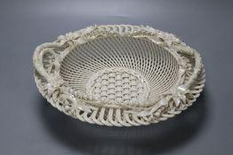 A Belleek basket, stamped 'Belleek Co Co. Fermanagh'